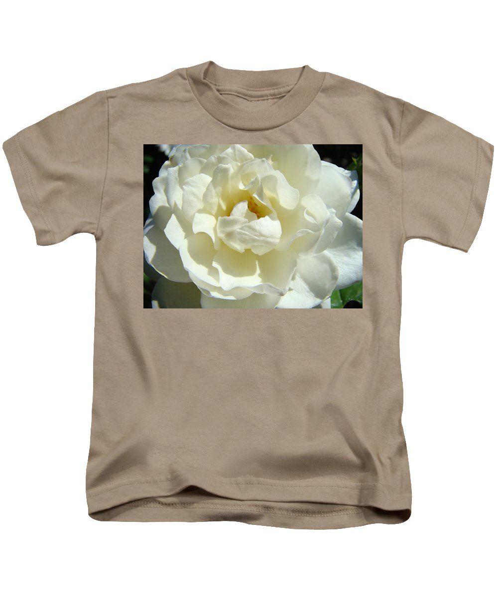 Rose Kids T-Shirt featuring the photograph White Rose Art Prints Summer Sunlit Roses Baslee Troutman by Baslee Troutman