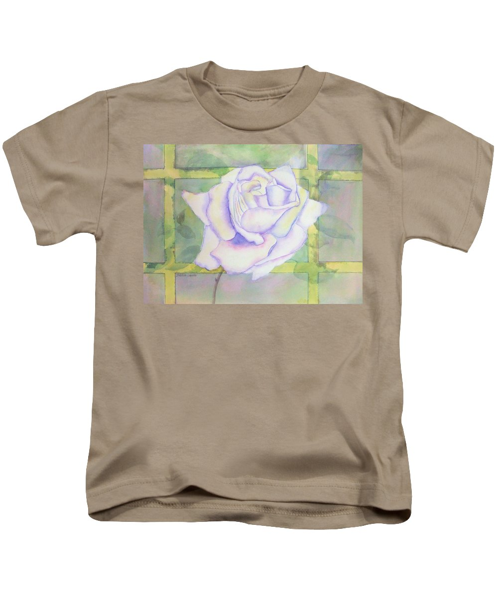 Watercolor Kids T-Shirt featuring the painting White Rose by Debbie Lewis