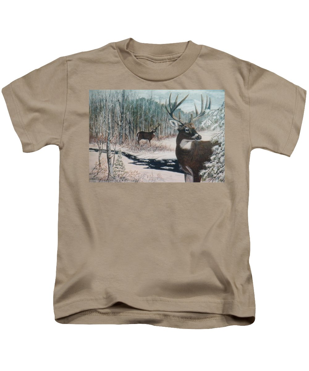 Deer; Snow; Creek Kids T-Shirt featuring the painting Whitetail Deer by Ben Kiger
