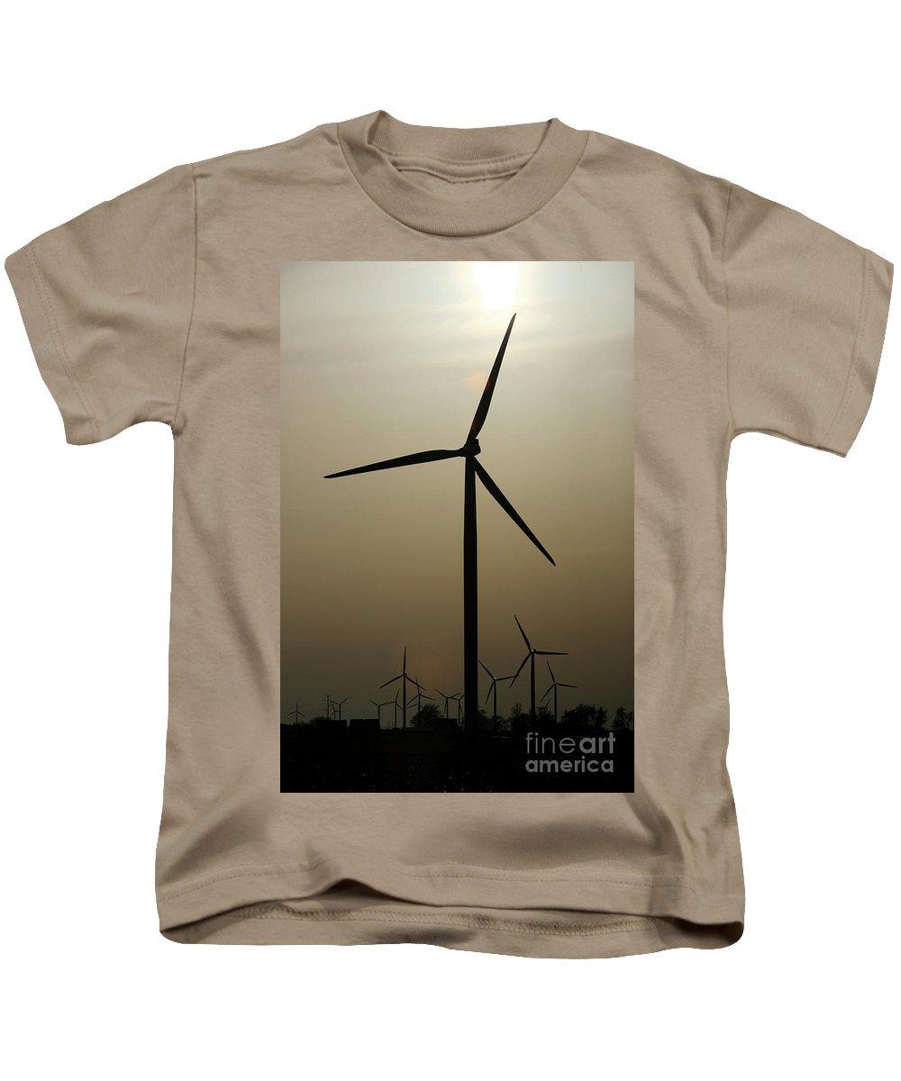 Art Kids T-Shirt featuring the photograph Wind Farm by Alan Look