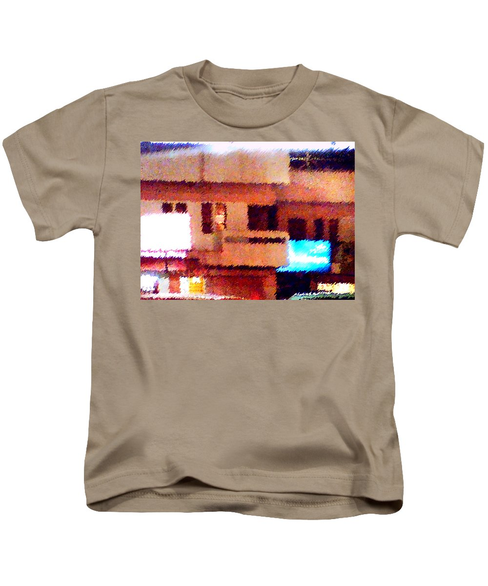 Digital Art Kids T-Shirt featuring the painting Windows by Anil Nene