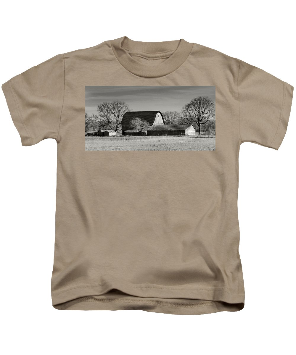 Kevin Felts Kids T-Shirt featuring the photograph Winter Farm by Kevin Felts