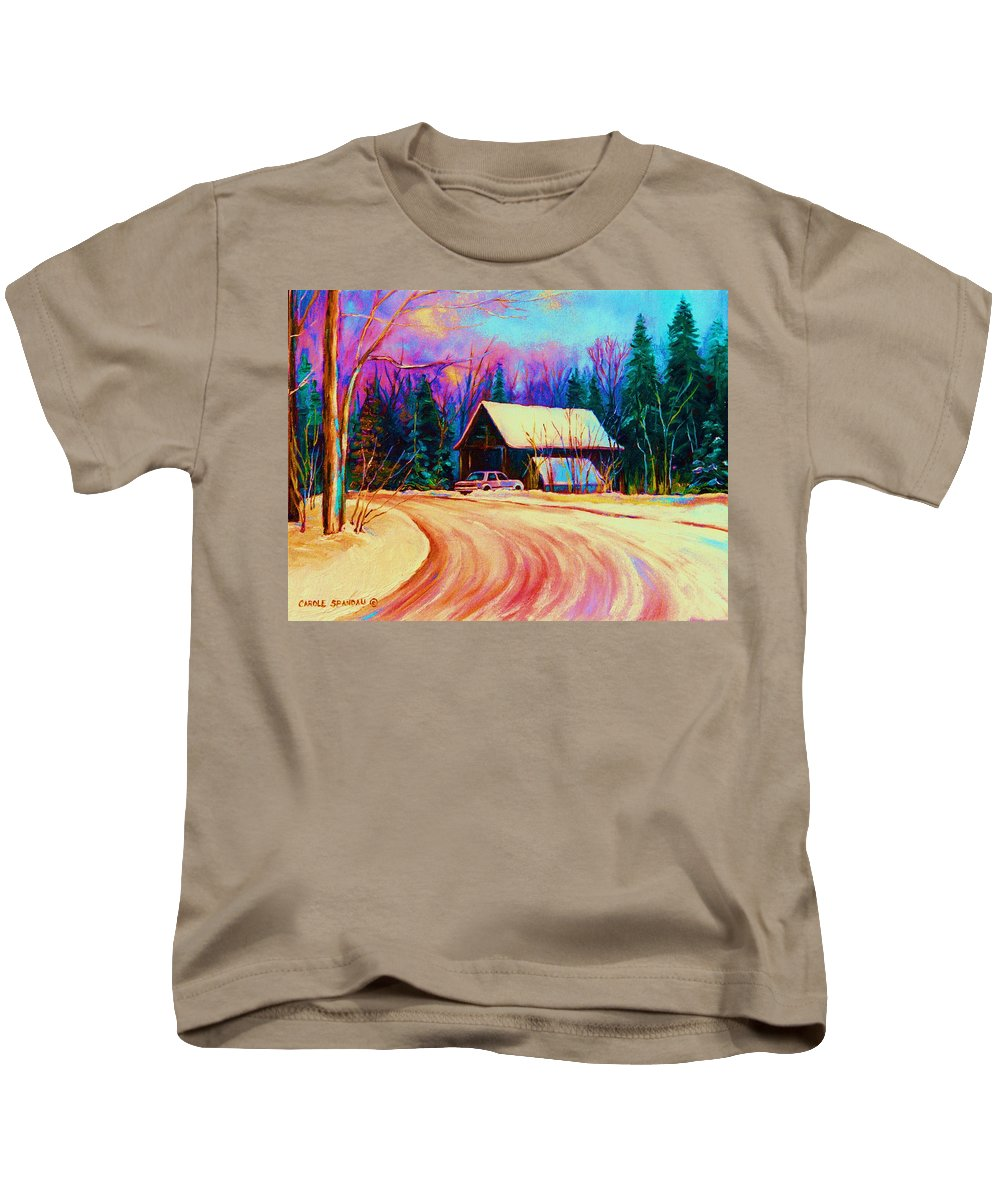 Landscape Kids T-Shirt featuring the painting Winter Getaway by Carole Spandau