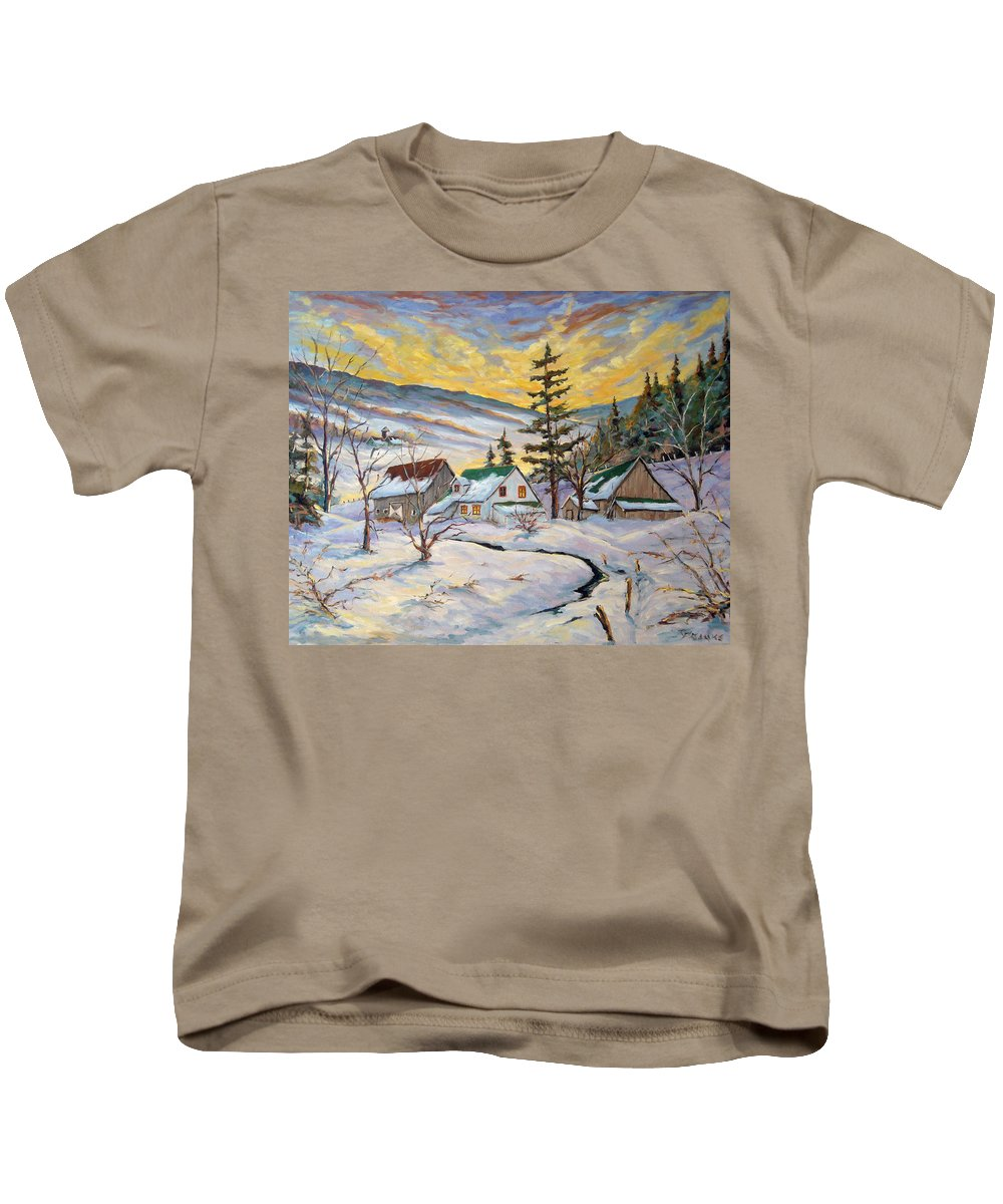 Landscape Kids T-Shirt featuring the painting Winter Lights by Richard T Pranke