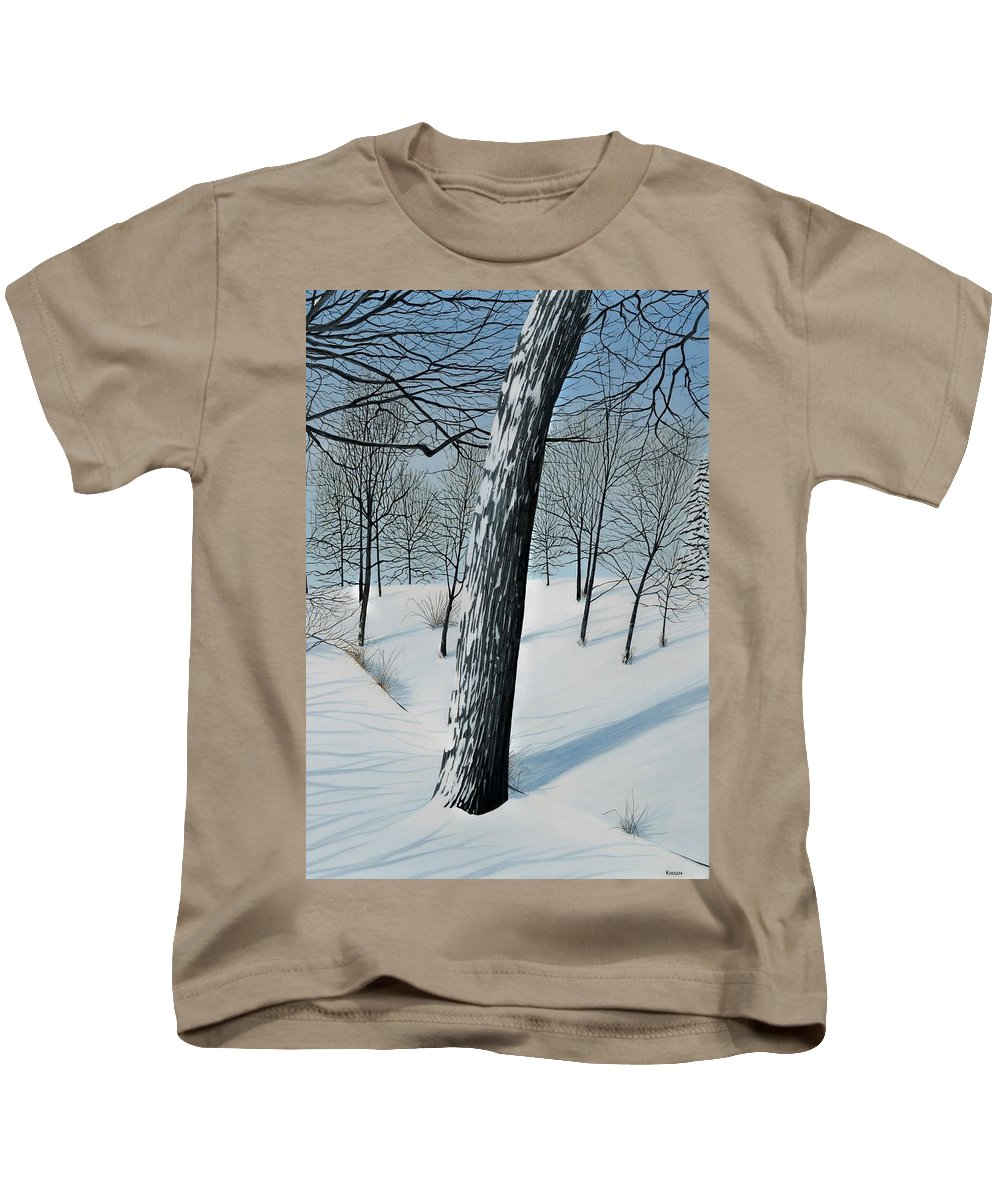 Landscape Kids T-Shirt featuring the painting Winter Maple by Kenneth M Kirsch