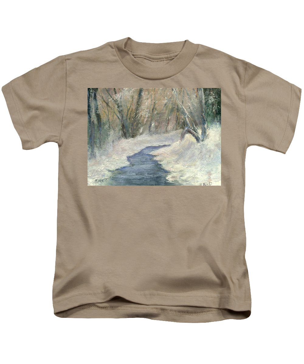 Snow Kids T-Shirt featuring the painting Winter On Stormcreek by Gail Kirtz