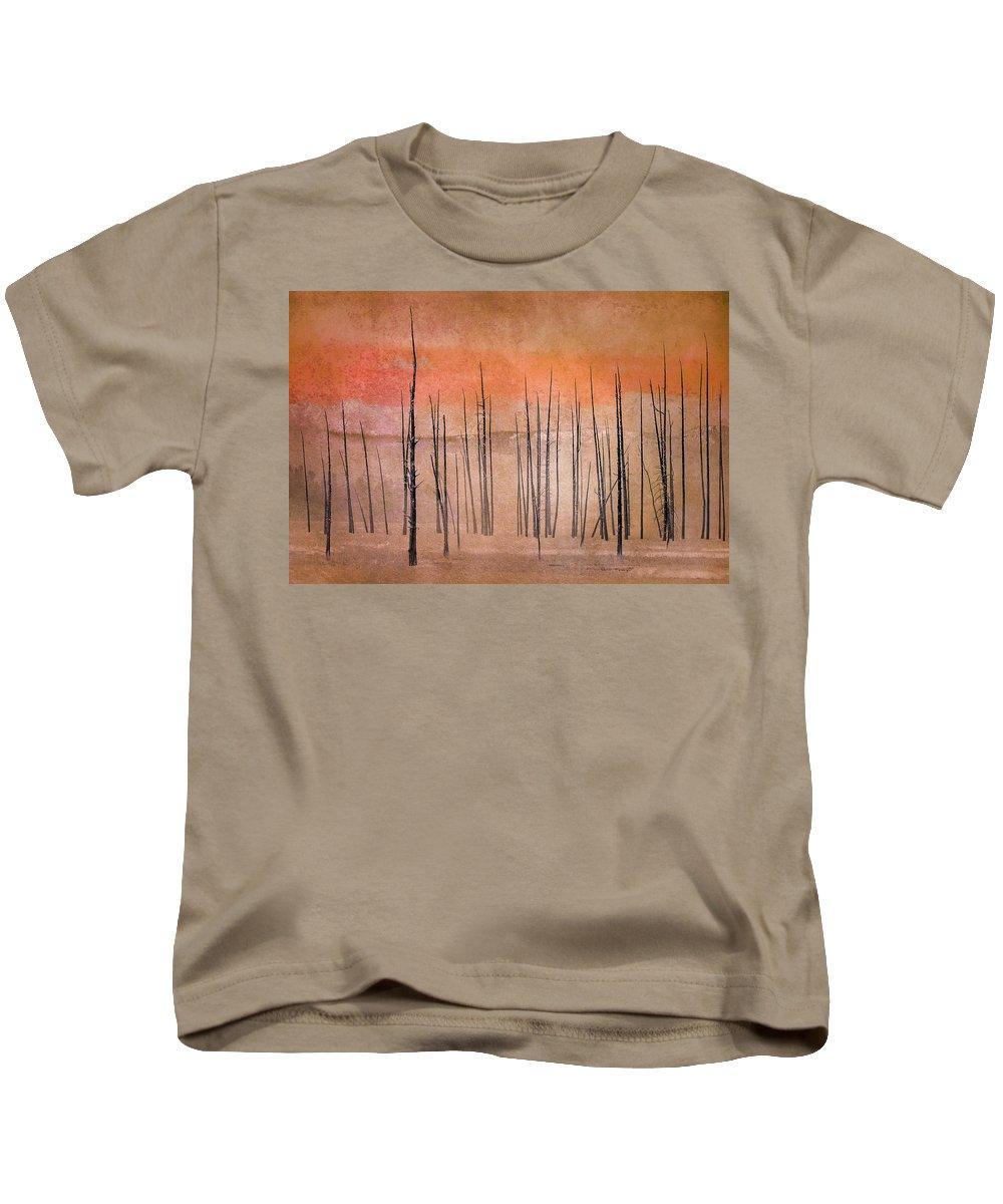 Yellowstone Kids T-Shirt featuring the photograph Winter Orange 7913orange by Karen Celella