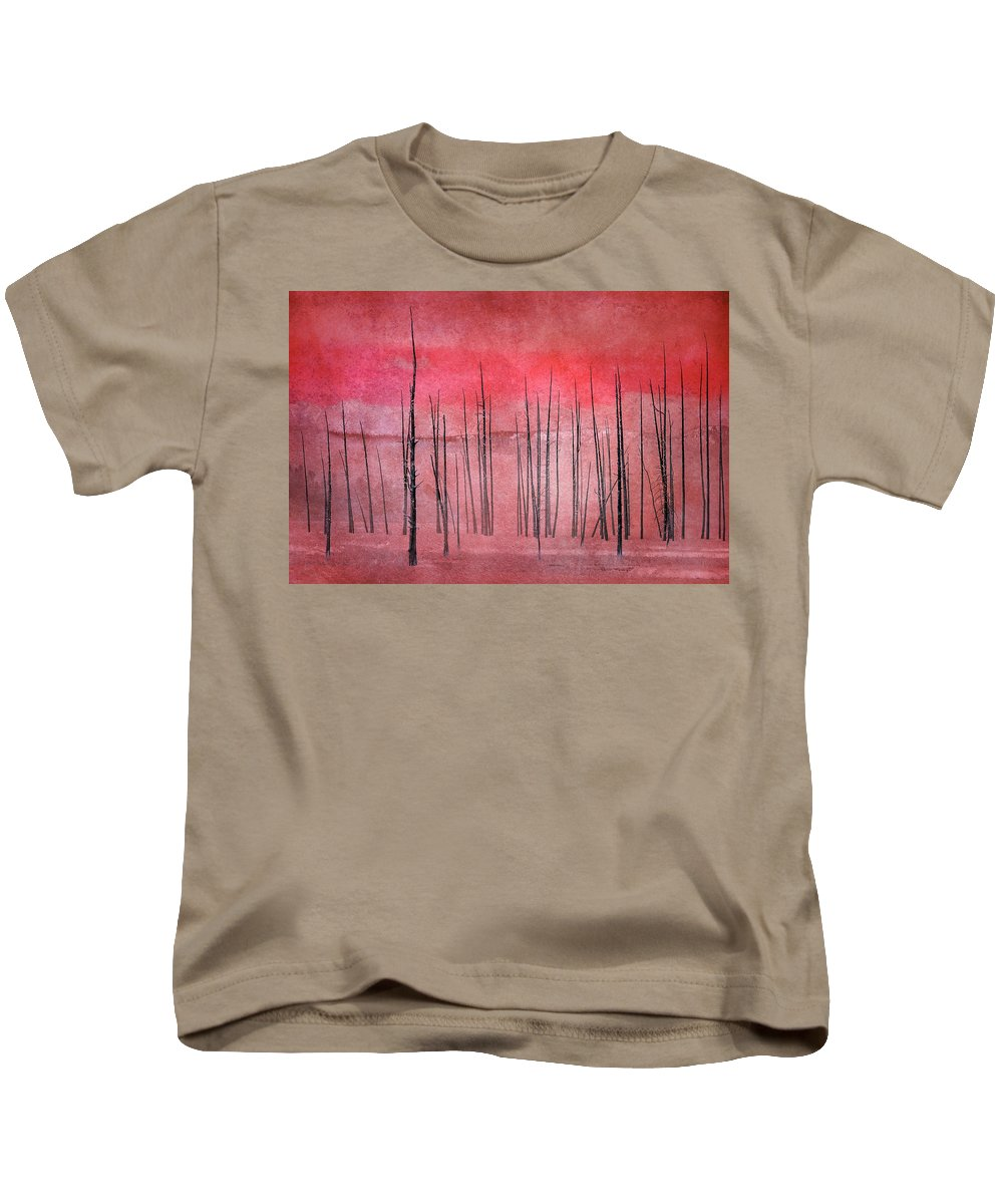 Yellowstone Kids T-Shirt featuring the photograph Winter Red 7913red by Karen Celella
