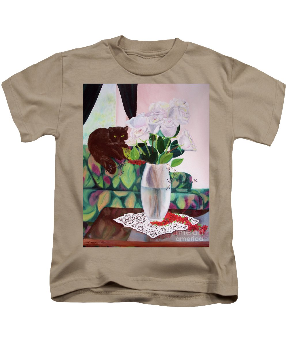Cat Kids T-Shirt featuring the painting Winter Roses by Laura Iverson