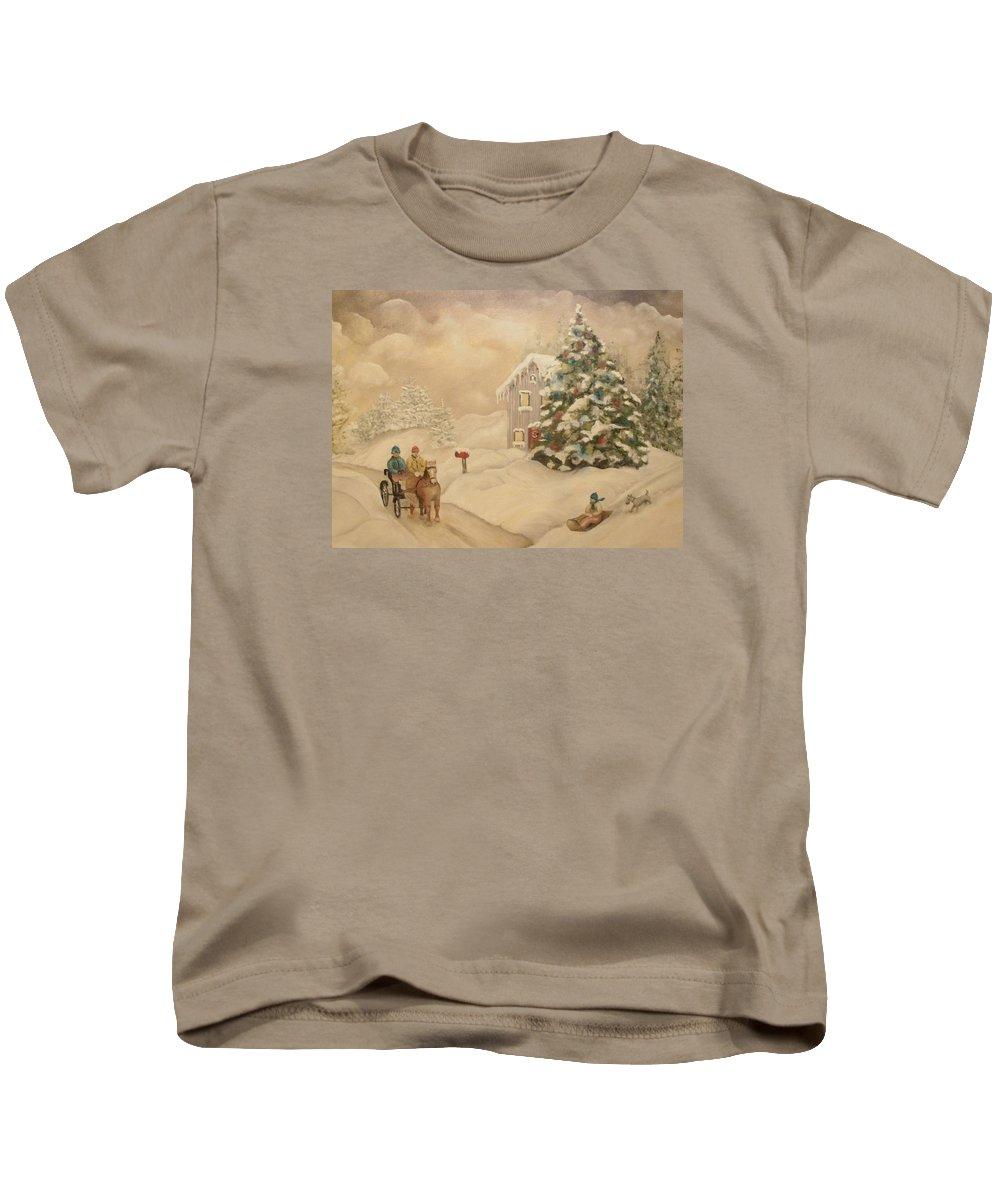 Snow Kids T-Shirt featuring the painting Winter Scene by John Stuart Webbstock