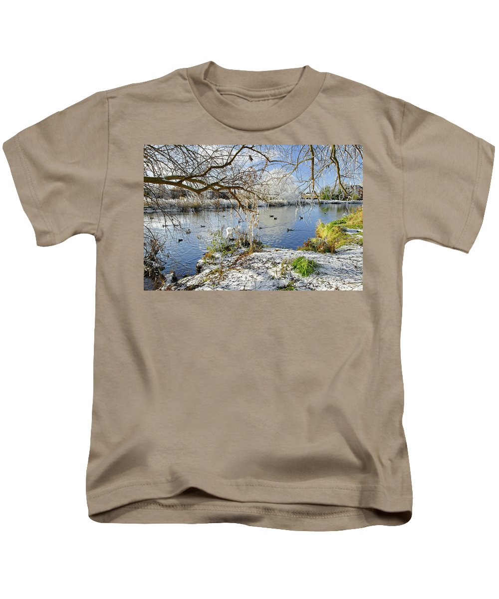 Europe Kids T-Shirt featuring the photograph Wintry River At Newton Road Park by Rod Johnson