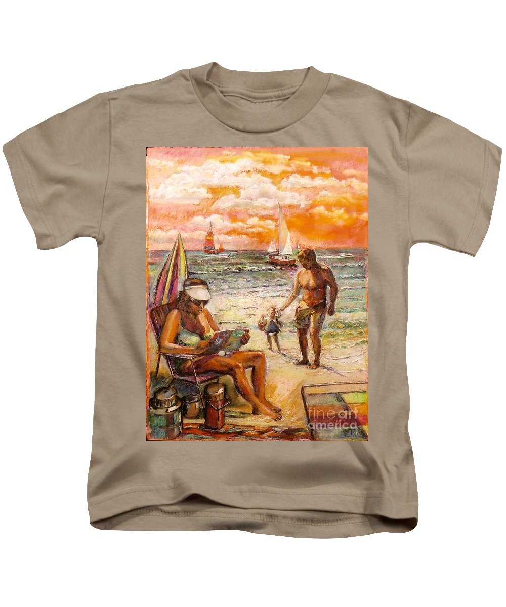 Beach Scene Kids T-Shirt featuring the painting Woman Reading On The Beach by Stan Esson
