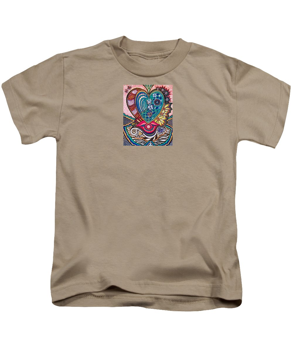 Heart Kids T-Shirt featuring the painting Wondering What's Next - Iv by Laurel Rosenberg