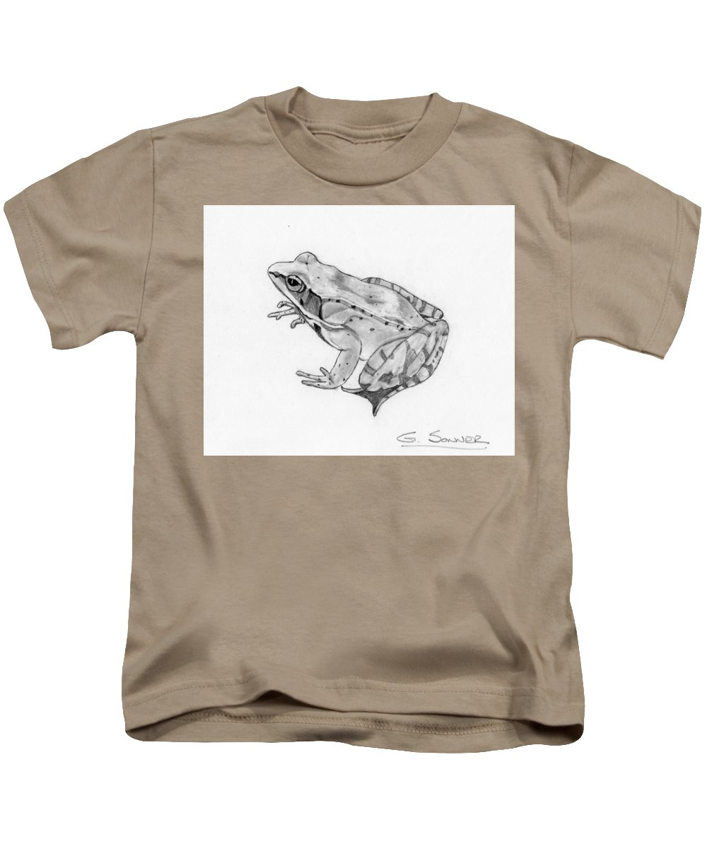 Frog Kids T-Shirt featuring the drawing Woody by George Sonner