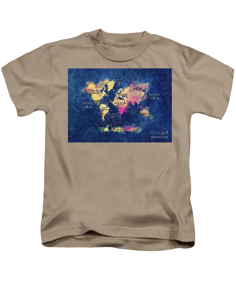 Map Of The World Kids T-Shirt featuring the digital art World Map Oceans And Continents by Justyna JBJart