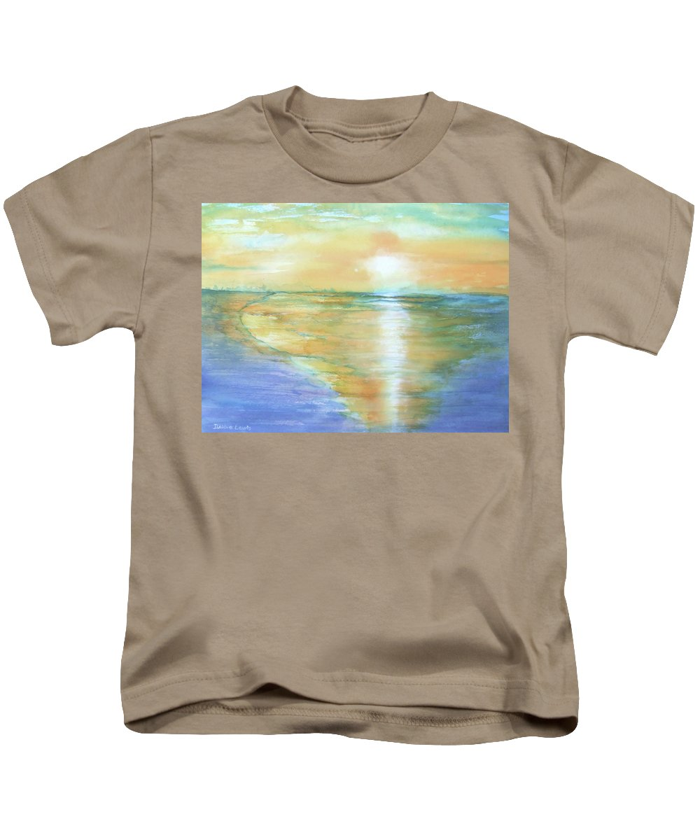 Watercolor Kids T-Shirt featuring the painting Wow Sunset by Debbie Lewis