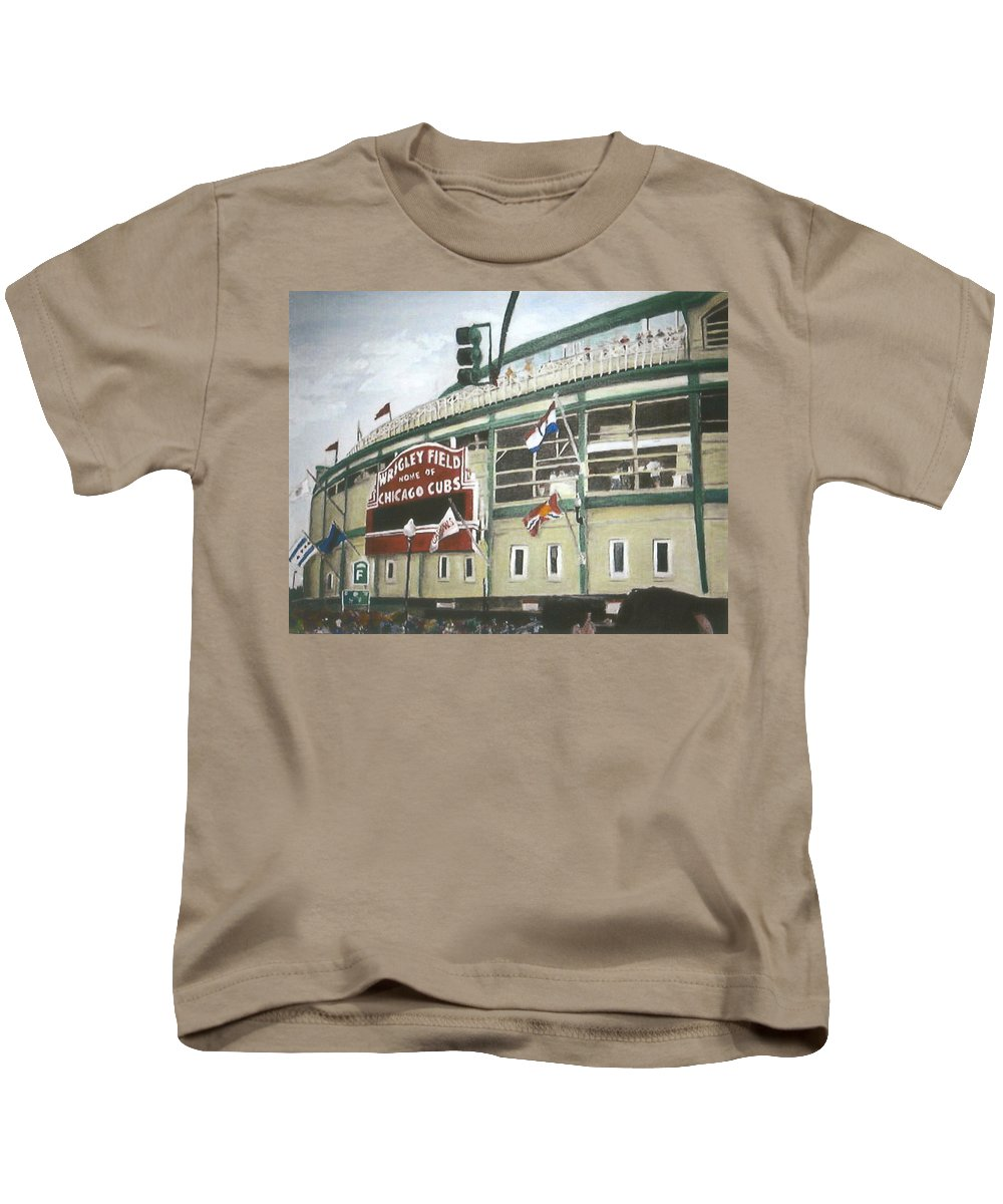 Wrigley Field Kids T-Shirt featuring the painting Wrigley Field by Travis Day