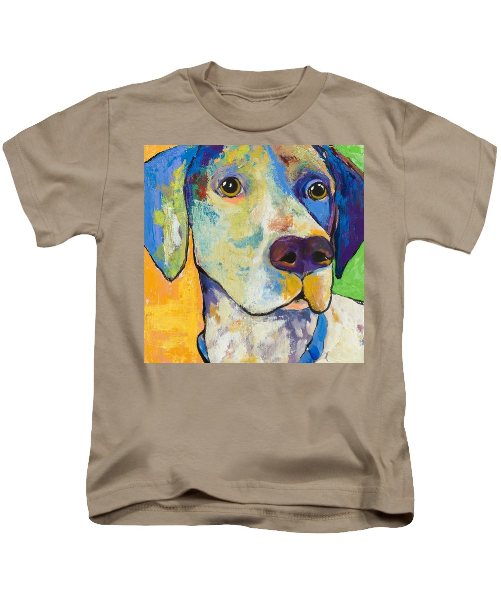 German Shorthair Animalsdog Blue Yellow Acrylic Canvas Kids T-Shirt featuring the painting Yancy by Pat Saunders-White