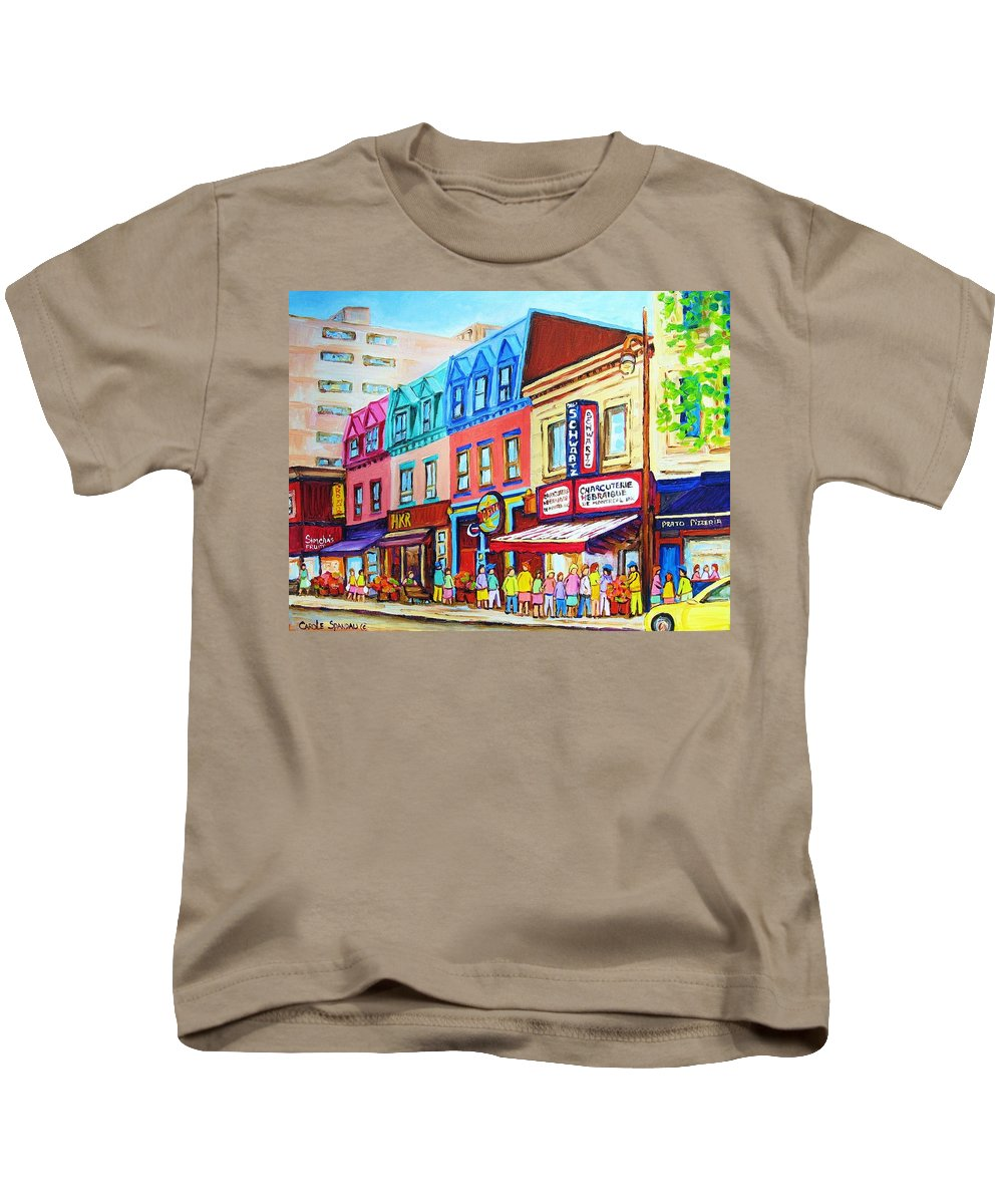 Reastarant Kids T-Shirt featuring the painting Yellow Car At The Smoked Meat Lineup by Carole Spandau