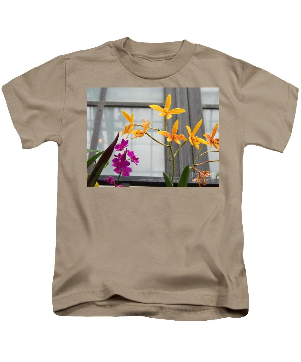 Yellow Kids T-Shirt featuring the painting Yellow Orange And Purple Flowers by Eric Schiabor