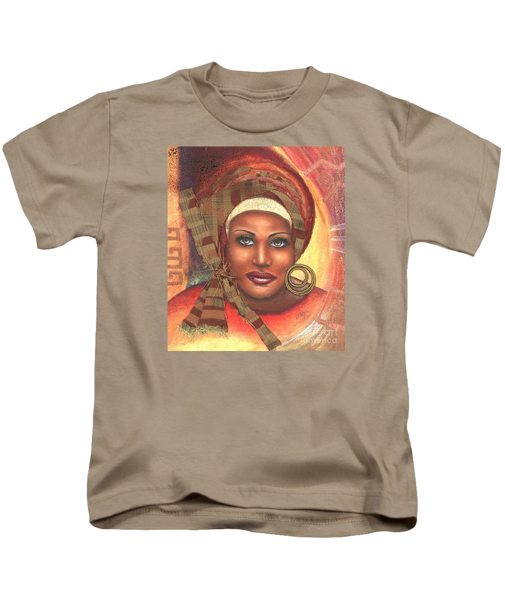 Woman Kids T-Shirt featuring the mixed media Yes . . . One Woman Can . . . by Alga Washington