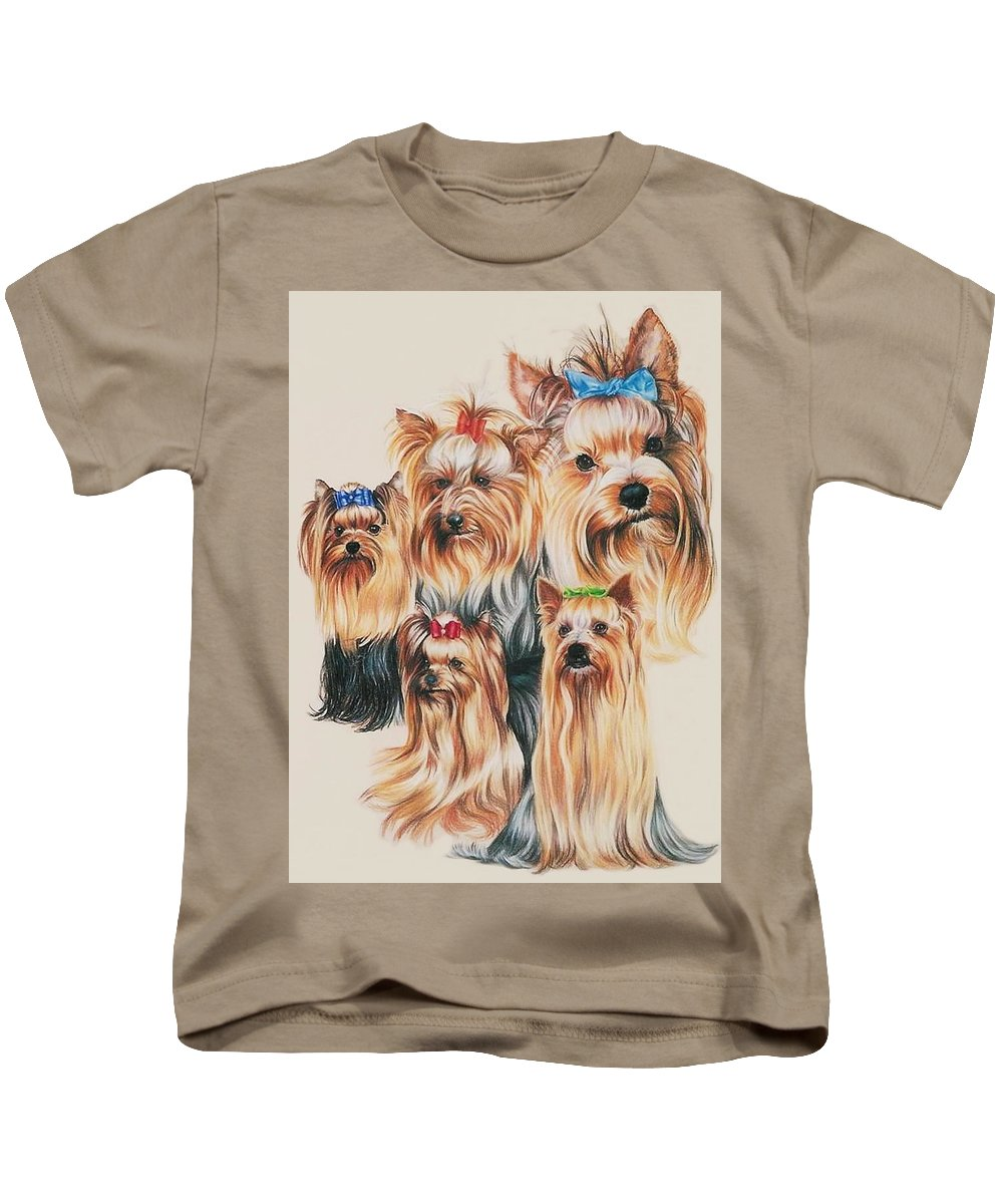 Purebred Kids T-Shirt featuring the drawing Yorkshire Terrier by Barbara Keith