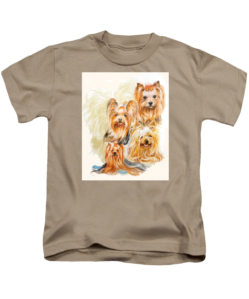 Toy Breed Kids T-Shirt featuring the mixed media Yorkshire Terrier W/ghost by Barbara Keith