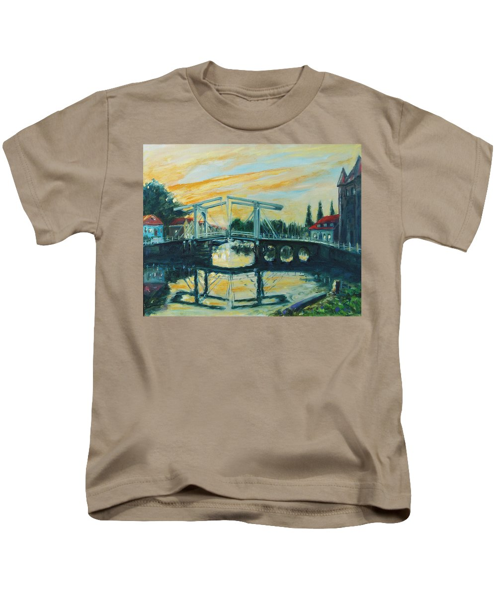 Bridge Kids T-Shirt featuring the painting Zeeland by Rick Nederlof