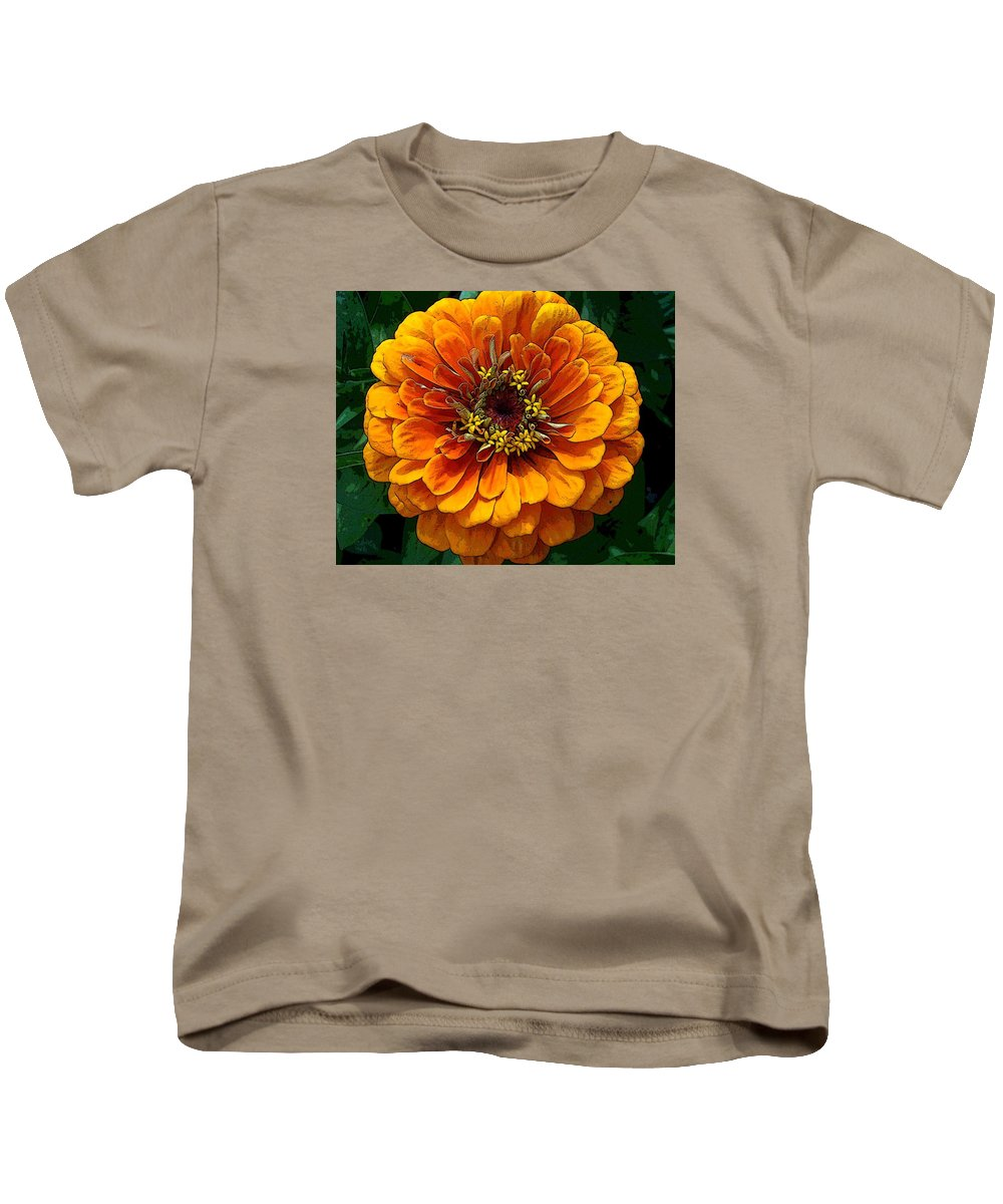 Photography Kids T-Shirt featuring the photograph Zinnia At Frankenmuth by Norma Boeckler