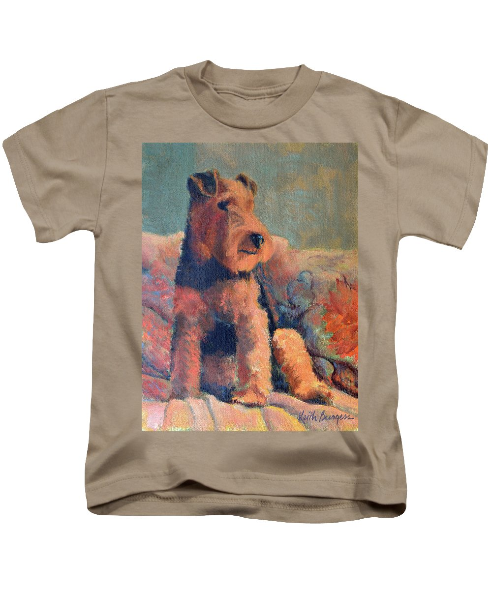Pet Kids T-Shirt featuring the painting Zuzu by Keith Burgess