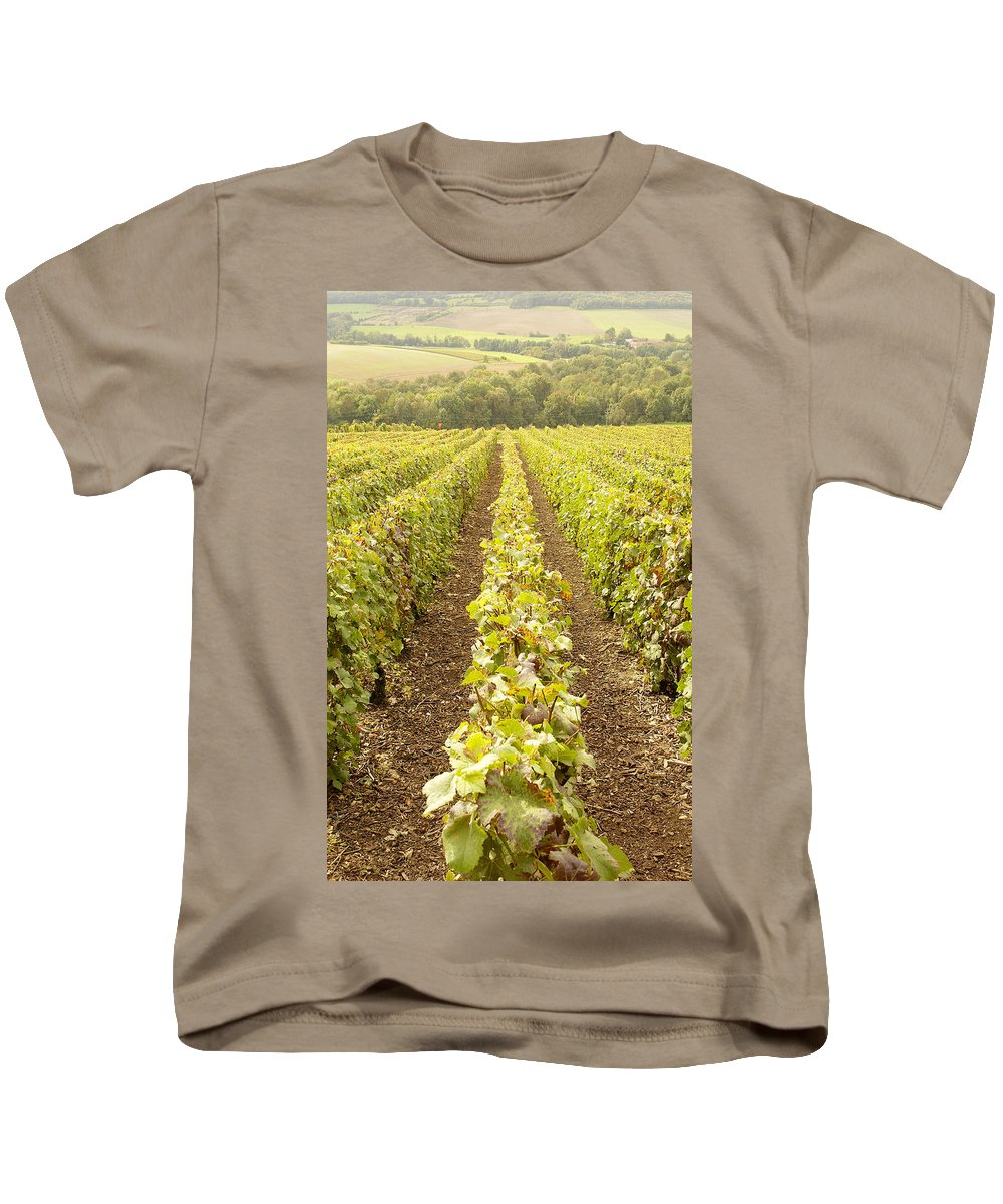 France Kids T-Shirt featuring the photograph French Vineyards Of The Champagne Region by Victor Lord Denovan