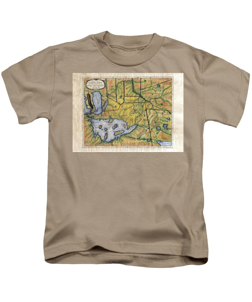 Historical Map Kids T-Shirt featuring the painting Historical Map Hand Painted Lake Superior Norhern Minnesota Boundary Waters Captain Carver by Lisa Middleton