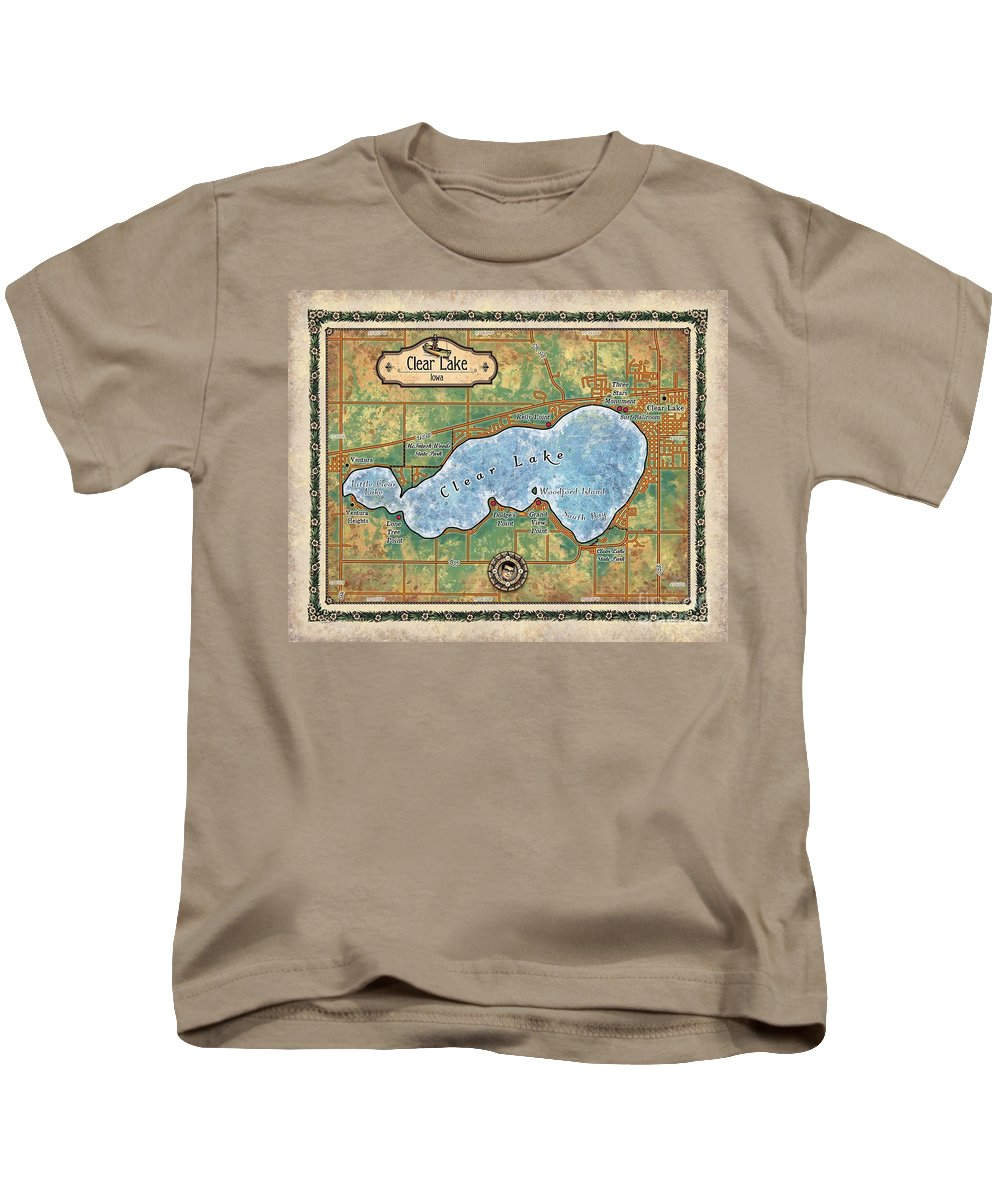 Iowa Clear Lake Kids T-Shirt featuring the painting Iowa Clear Lake Custom Map Custom Map Art by Lisa Middleton