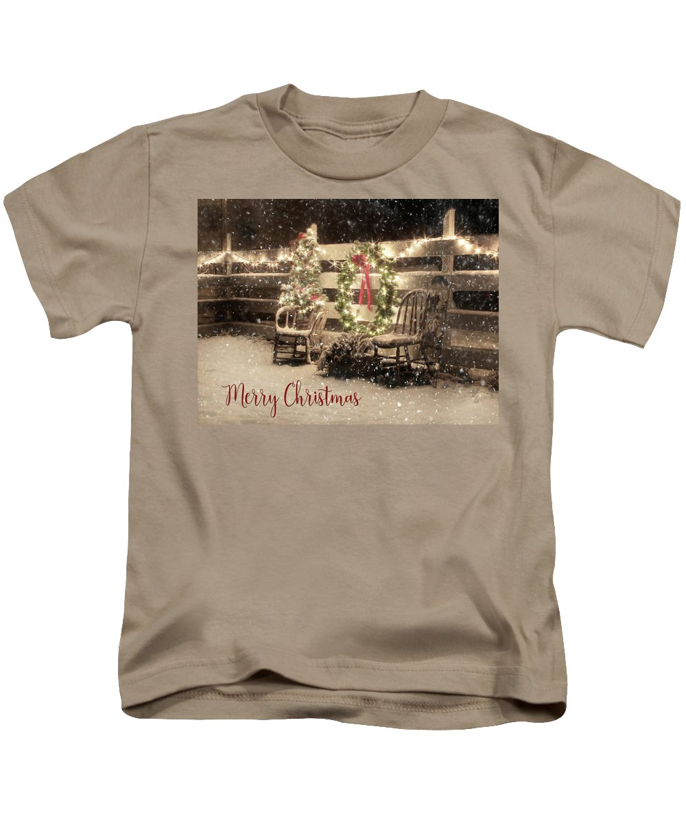 Christmas Kids T-Shirt featuring the photograph Merry Christmas To All by Lori Deiter