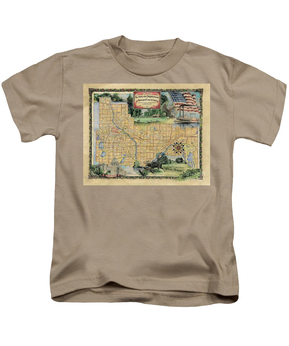 Minneapolis Kids T-Shirt featuring the painting Minneapolis St. Paul Map Vintage Custom Map Art Hand Painted by Lisa Middleton