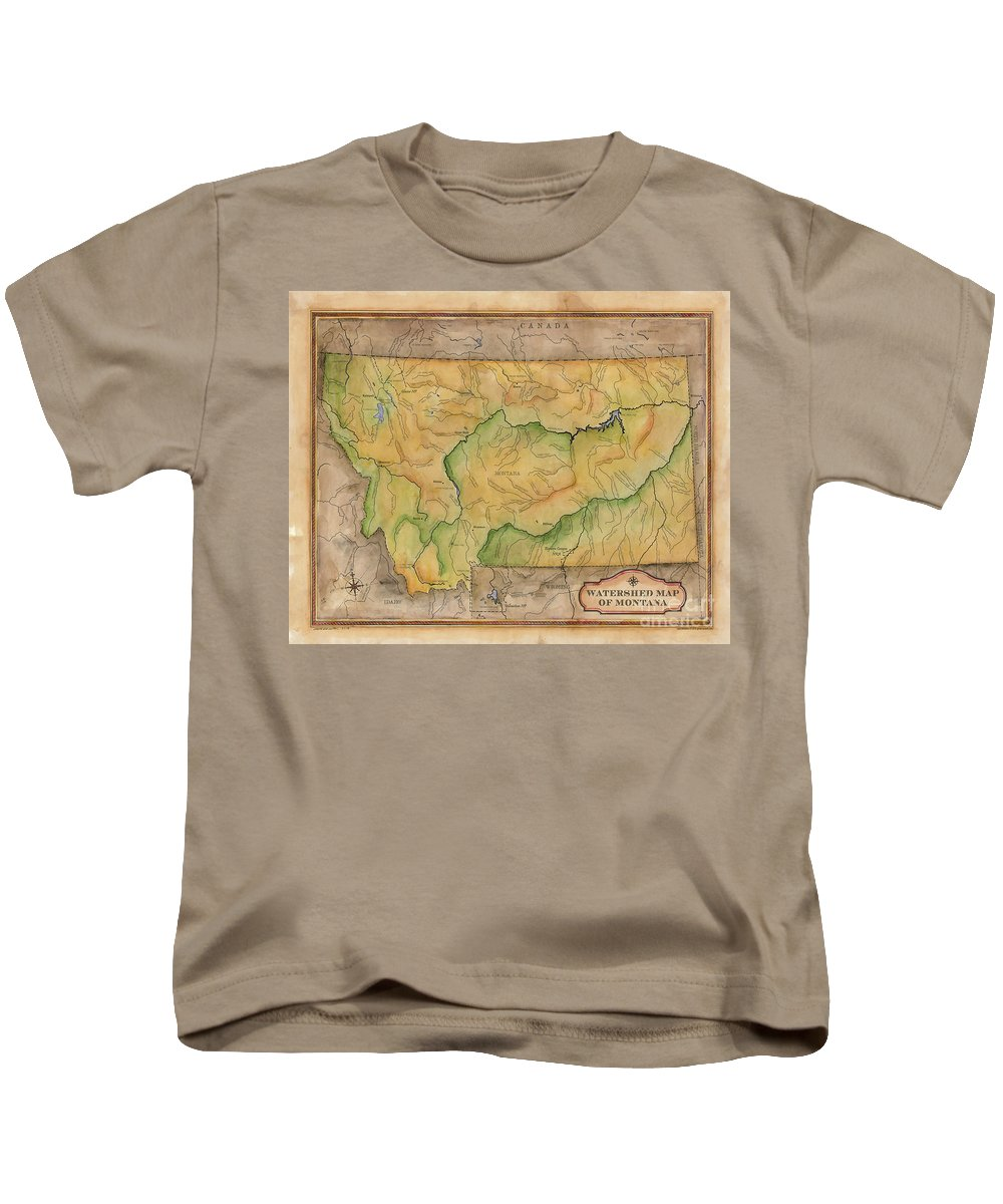 Montana Kids T-Shirt featuring the painting Montana Custom Map Art Rivers Map Hand Painted by Lisa Middleton