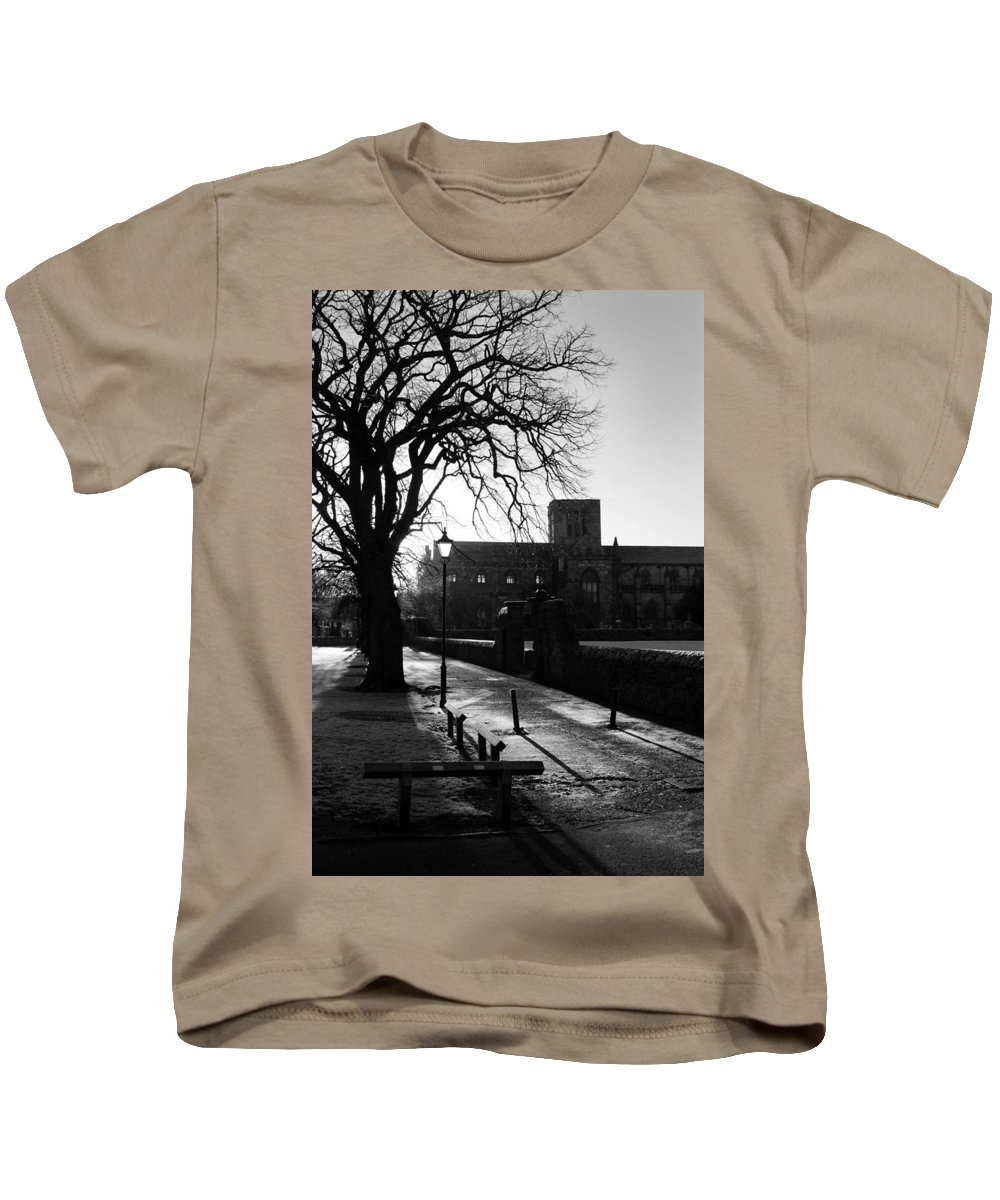Walkway Kids T-Shirt featuring the photograph riverside walk in Haddington on winters morning by Victor Lord Denovan