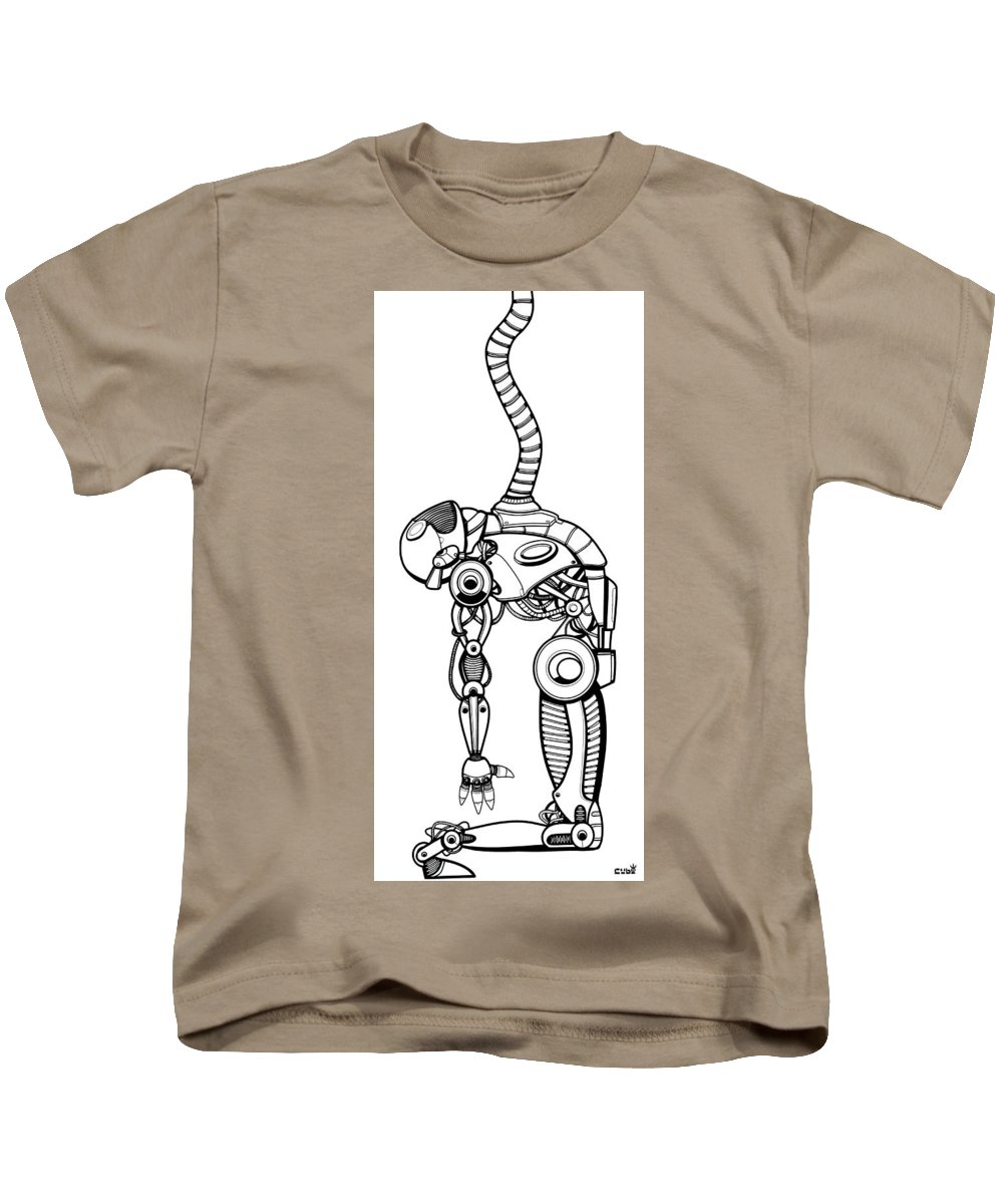 Robot Kids T-Shirt featuring the digital art Robot Charging by Aleksandra Tot-Bulajic