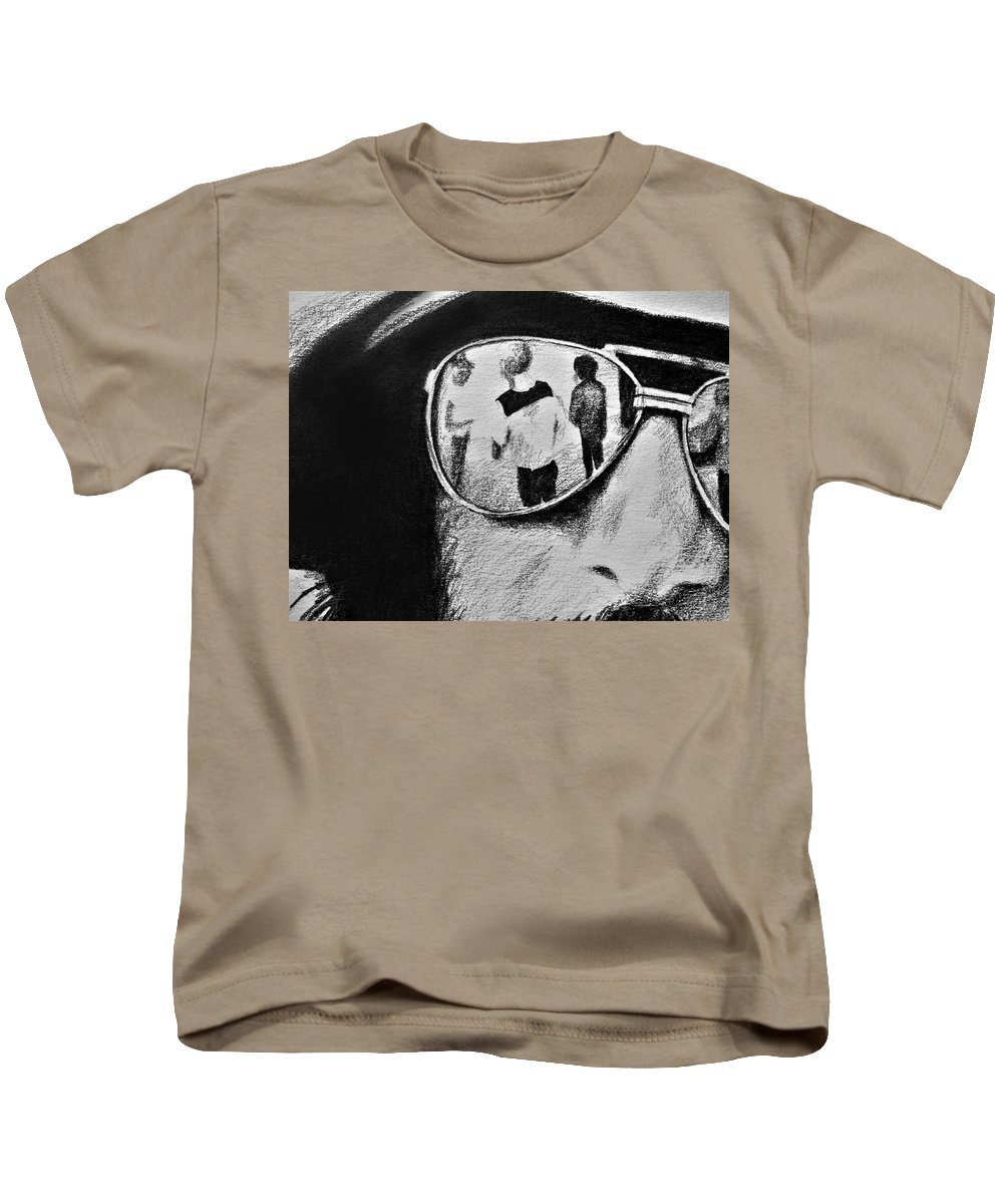 Springsteen Kids T-Shirt featuring the drawing Springsteen Reflection by James Deady