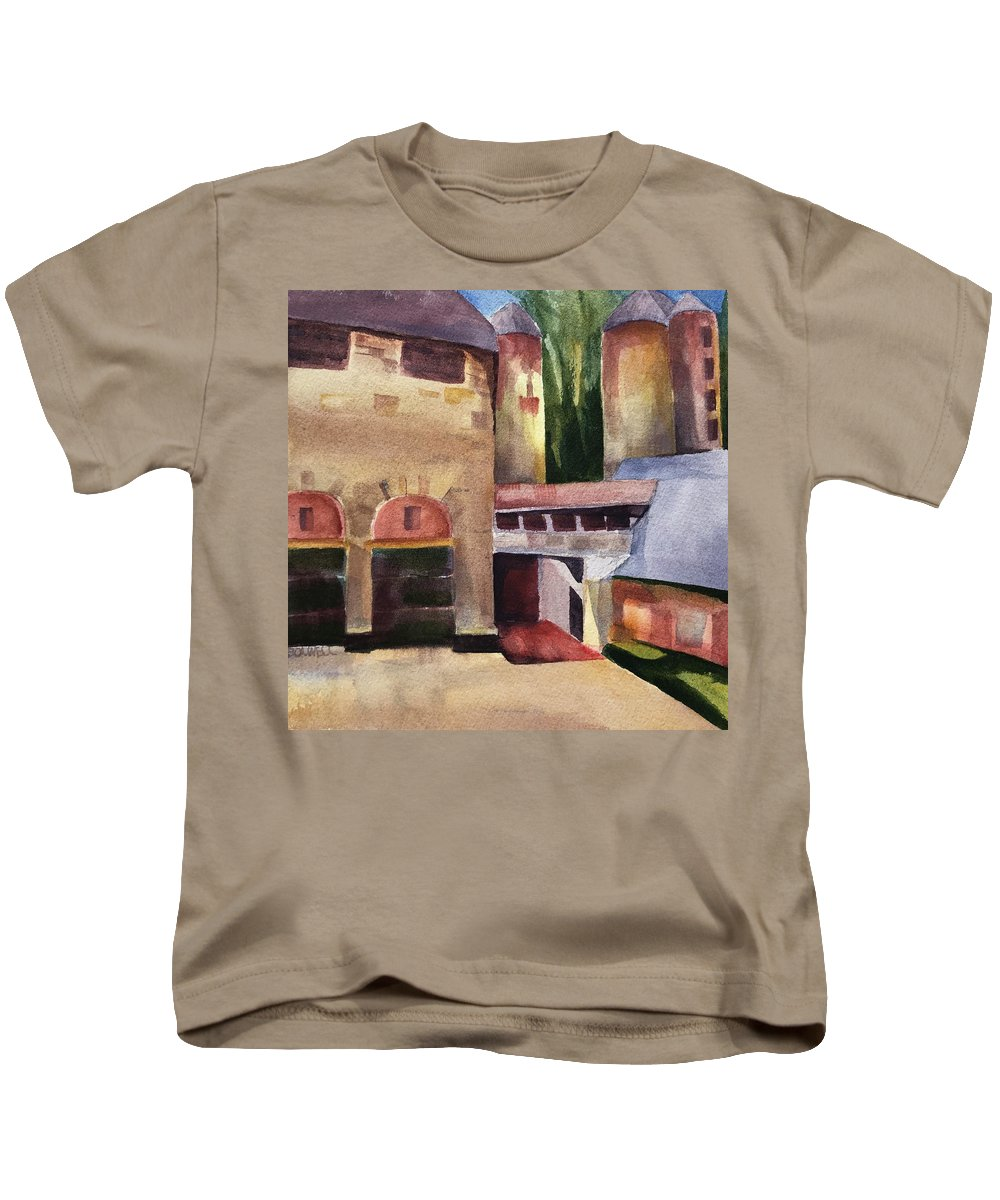 Stone Barns Kids T-Shirt featuring the painting Stone Barns Courtyard by Lynne Bolwell