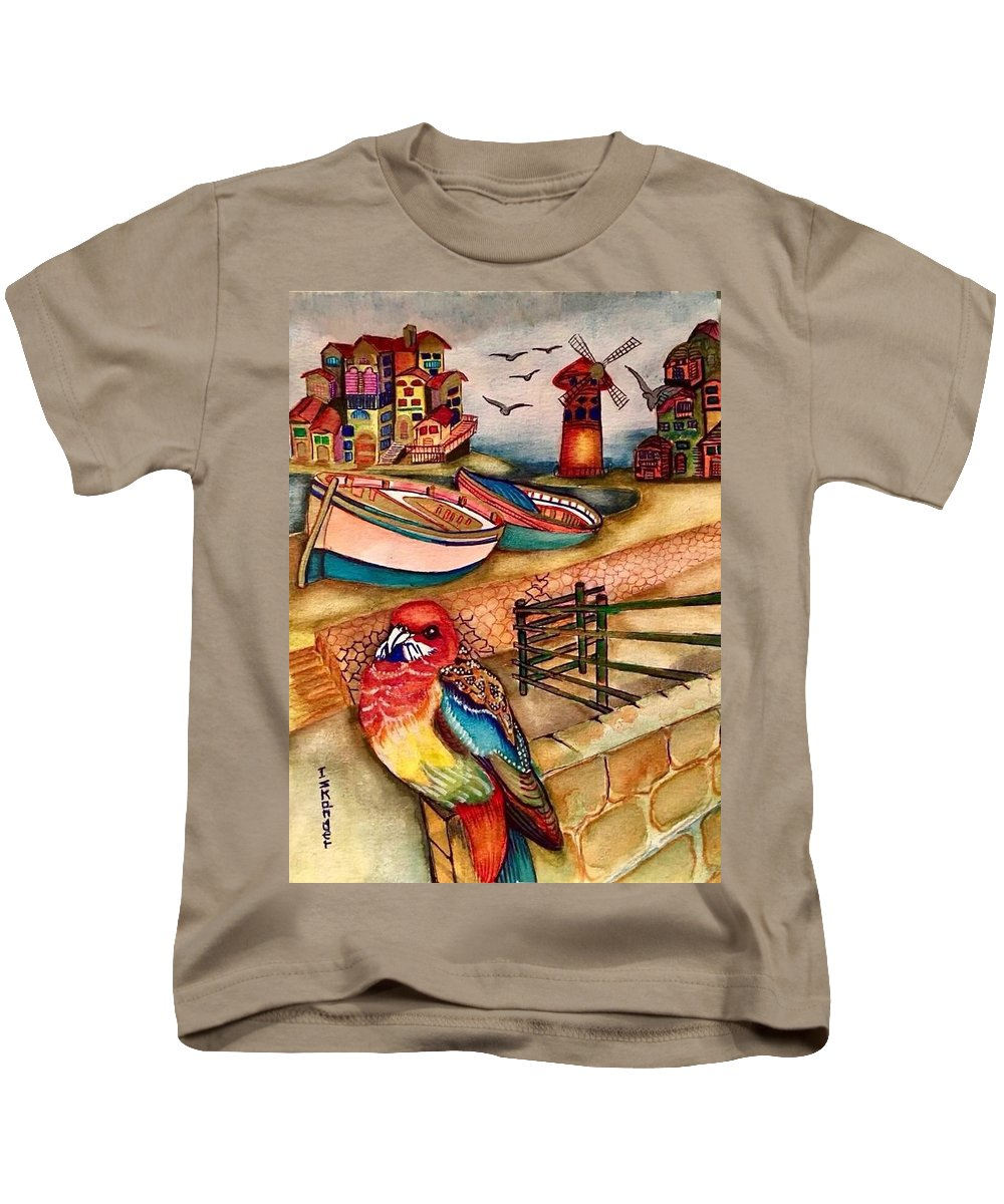 Bird Kids T-Shirt featuring the painting The Venician Bird by Essam Iskander