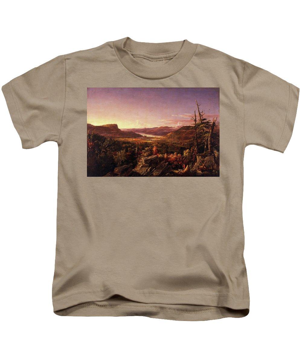 View Of Greenwood Lake Kids T-Shirt featuring the painting View Of Greenwood Lake, New Jersey by Jasper Francis Cropsey