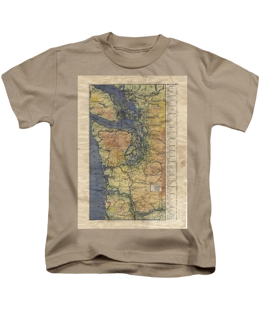 Vintage Auto Map Kids T-Shirt featuring the painting Vintage Auto Map Western Washington Olympic Peninsula Hand Painted by Lisa Middleton