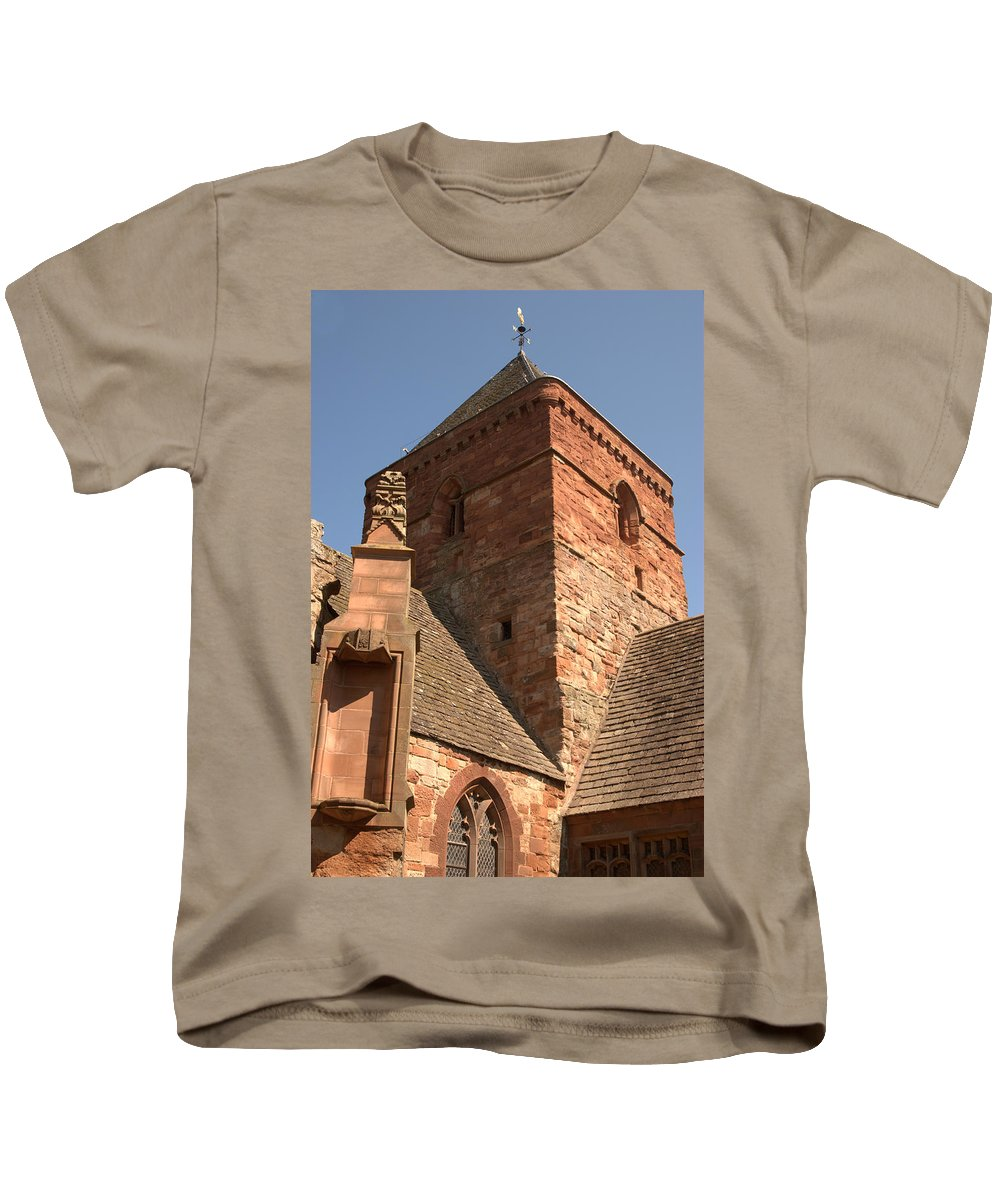 Church Kids T-Shirt featuring the photograph Whitekirk 12th Century Church Tower In East Lothian by Victor Lord Denovan