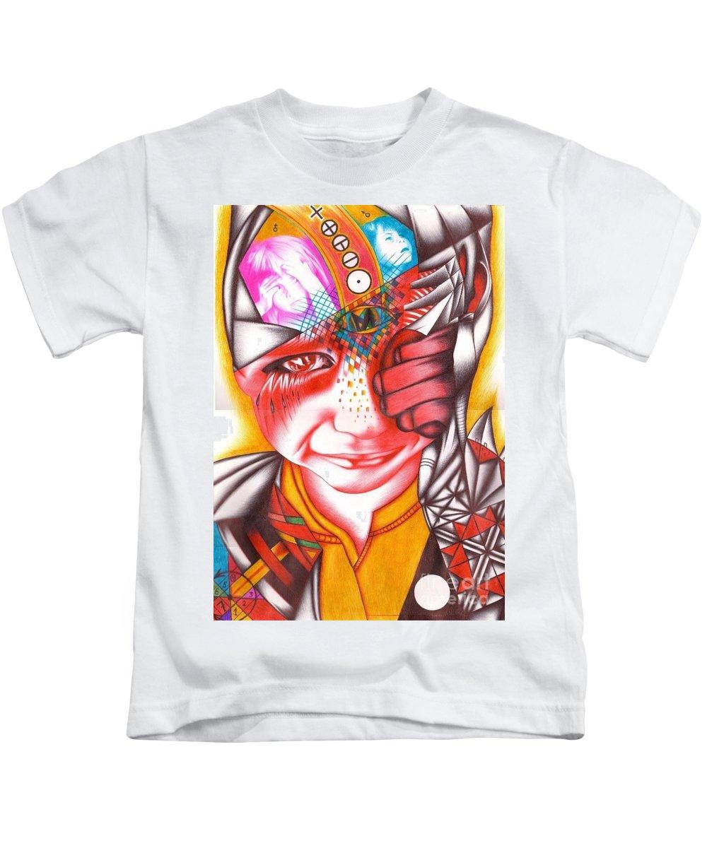 Guardian Kids T-Shirt featuring the drawing Guardian by Sasha Antal