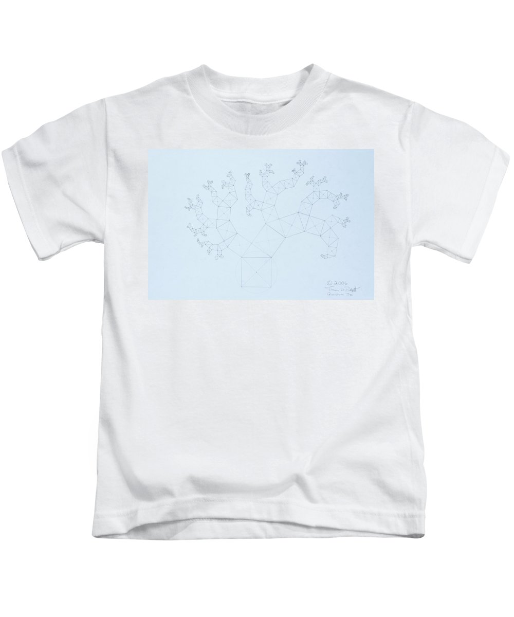 Fractal Tree Kids T-Shirt featuring the drawing Quantum Tree by Jason Padgett