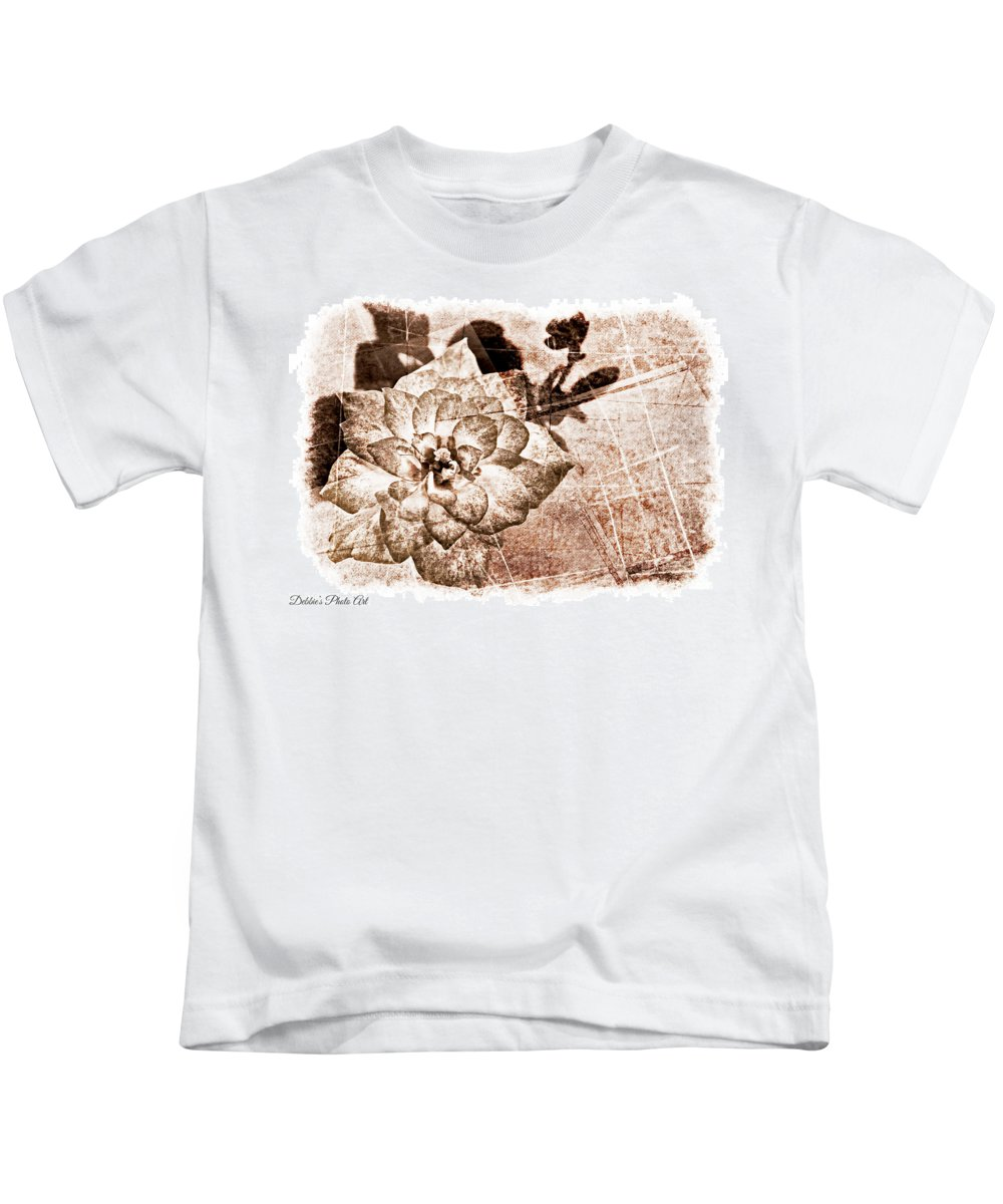 Nature Kids T-Shirt featuring the photograph Thumbelina Rose - Miniature Rose - Digital Paint II by Debbie Portwood