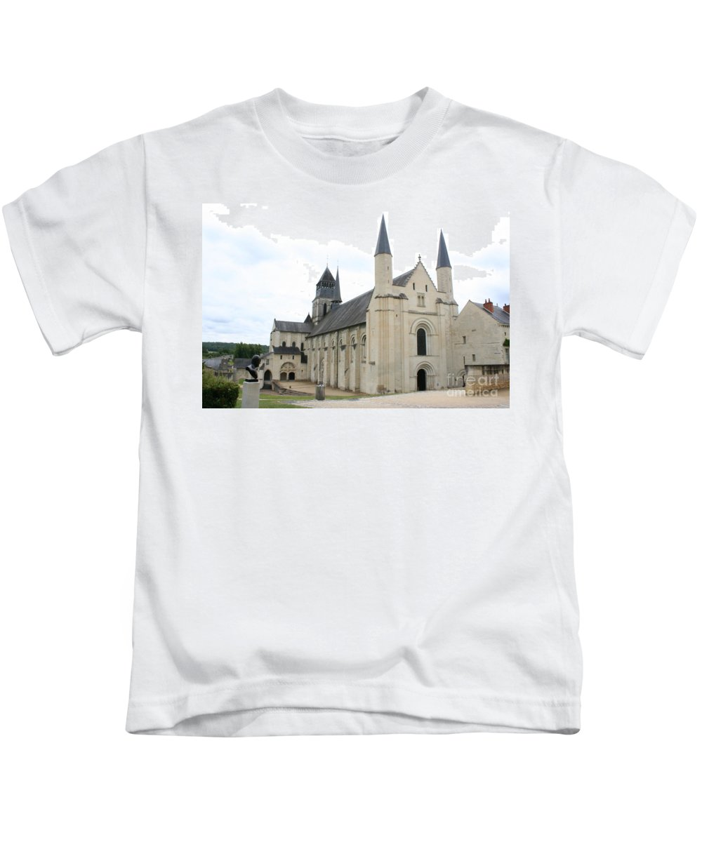 Cloister Kids T-Shirt featuring the photograph West Facade Of The Church - Fontevraud Abbey by Christiane Schulze Art And Photography