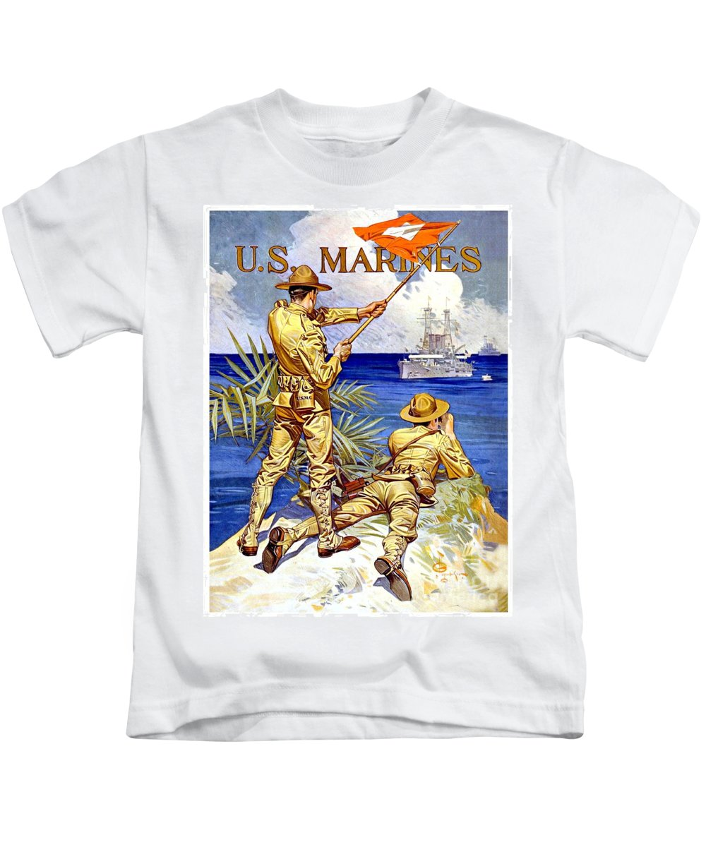 1917 Kids T-Shirt featuring the digital art 1917 - United States Marines Recruiting Poster - World War One - Color by John Madison