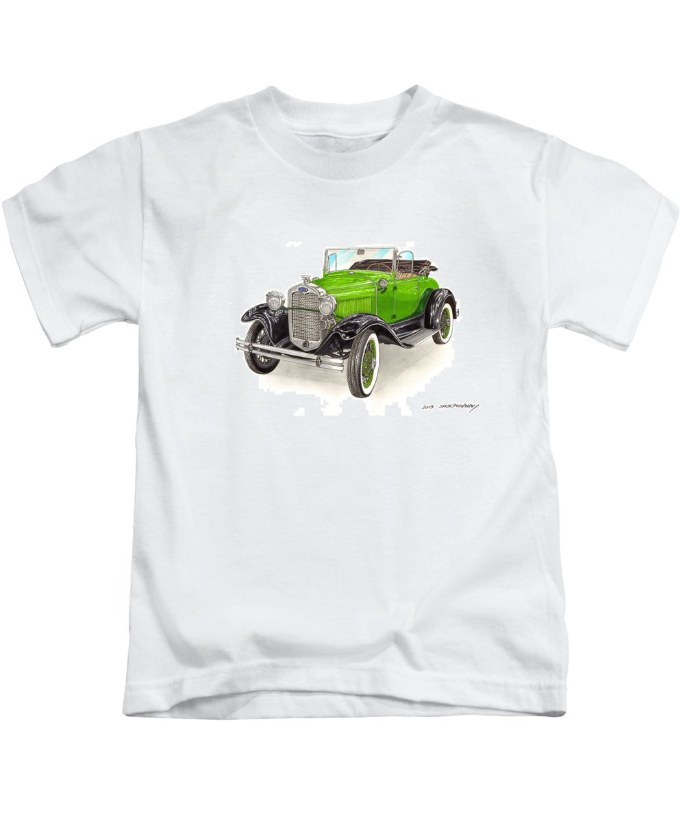 Car Art Kids T-Shirt featuring the painting 1931 Ford Model A Roadster by Jack Pumphrey